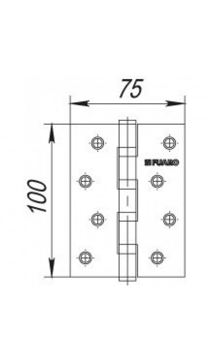 Дверная петля Fuaro 4BB 100x75x2,5 AB бронза (к-т)
