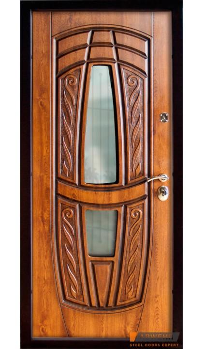Входная дверь ABWEHR Classic SAP Massandra 209 + ковка Vinorit дуб золотой + патина